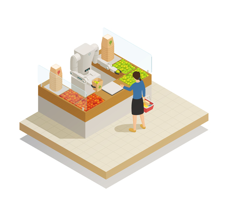 Supermarket innovative technologies isometric composition with robot assisting customer in fresh fruits and vegetables section vector illustration.