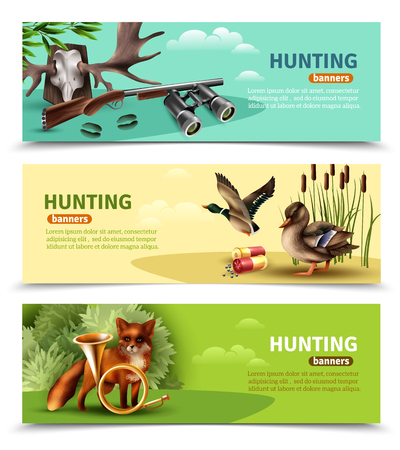 Set of horizontal banners with hunting equipment and trophies, fox with horn and ducks isolated vector illustration. Stock Vector - 97731024