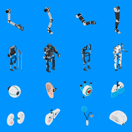Exoskeleton bionic prosthetic icons set with artificial body symbols on blue background isometric isolated vector illustration. Stock Illustratie
