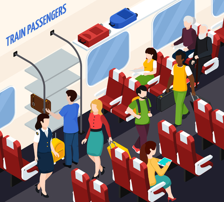 Passengers and woman conductor in train interior with red armchairs, baggage on shelves isometric composition vector illustration