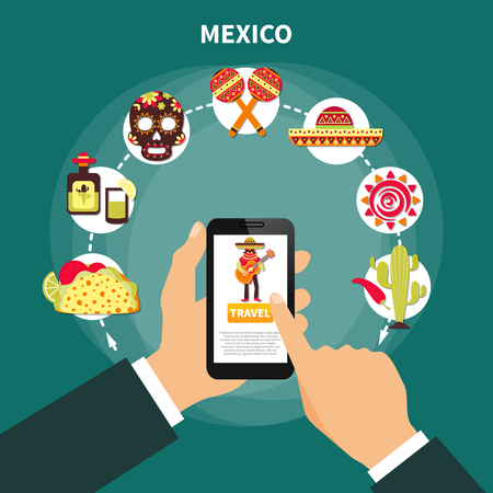 Online choosing travel to mexico and various mexican symbols flat vector illustration