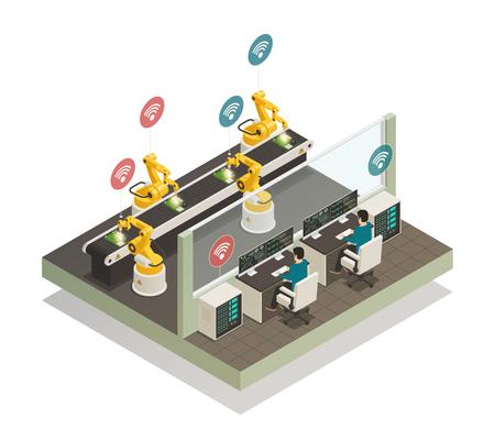 Inteligentna inteligentna produkcja w pełni zautomatyzowana linia spawalnicza ze zdalnie sterowaną ilustracją wektorową składu izometrycznego dłoni robota