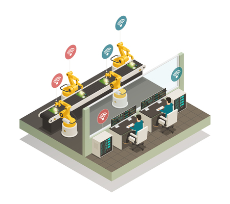 Smart industry intelligent manufacturing fully automated welding line with remote controlled robotic hand isometric composition vector illustration Illustration