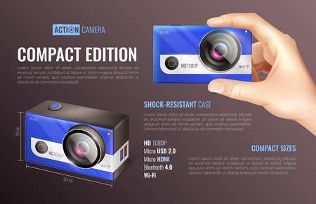 Action camera compact edition poster with compact size symbols realistic vector illustration