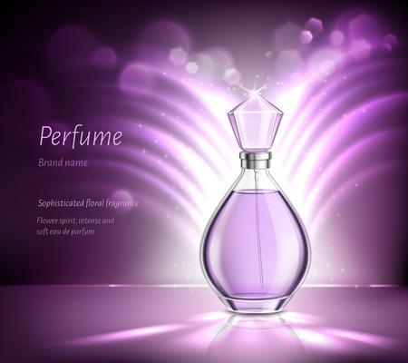 Parfum bouteille en verre produit publicité composition réaliste sur fond violet flou avec paillettes et rayons vector illustration Vecteurs