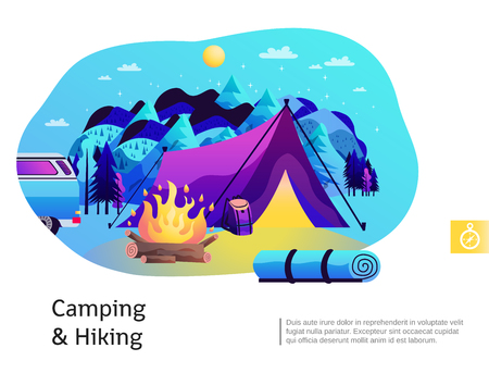 Camping hiking abstract colorful composition with open fire purple tent blue mountains in background  poster vector illustration Banque d'images - 96874234