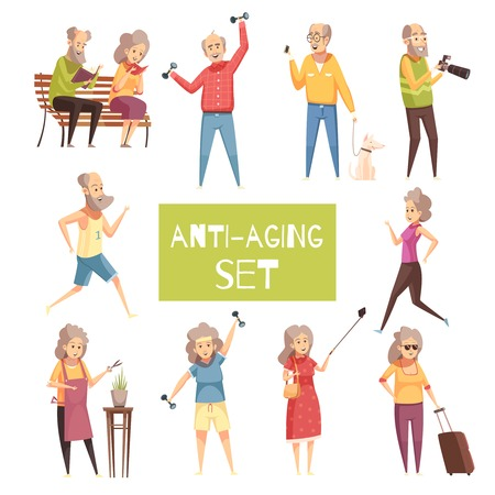 Anti aging isolated icons set with elderly people traveling walking with pet jogging reading in park flat vector illustration Vectores