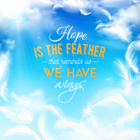 Blue cloudy sky realistic background with elegant white feathers Vettoriali