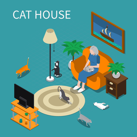 Elderly woman with her pets cats at home isometric composition 3d vector illustration.
