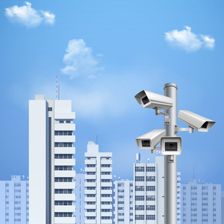 Security system surveillance cameras on background  with cityscape and blue sky realistic vector illustration