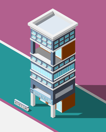 Aesthetic clinic isometric city background with modern multistoried hospital building on abstract background vector illustration Illustration