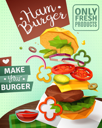 3D hamburger and sauce on brown wooden table, ad poster on green textured background vector illustration.