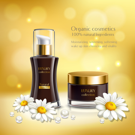 Daisy realistic golden composition with organic cosmetics one hundred percent natural ingredients headline vector illustration Ilustração