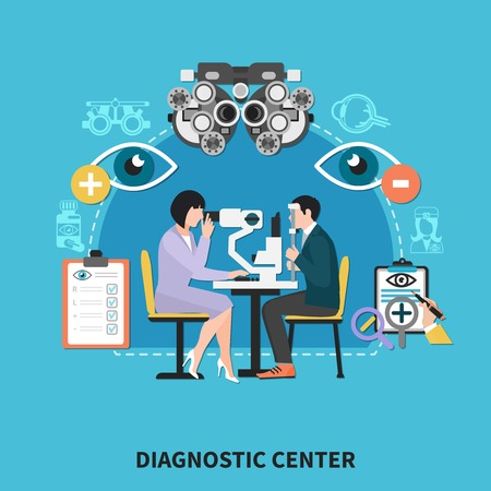 Ophthalmology diagnostic center flat poster with optometrist eye examination instruments treatments correctional lenses prescriptions background vector illustration