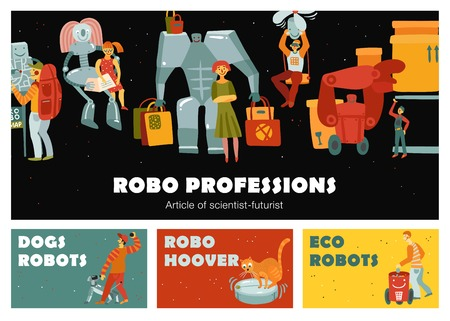 Robots set of horizontal banners with automatic devices dog, navigator, loader, nanny isolated vector illustration