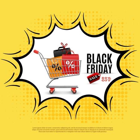 Black friday ad poster on yellow background with shopping trolley in comic bubble vector illustration Illustration