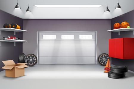 Garage interior in grey color realistic composition with sports equipment, automobile wheels, road cones 3d vector illustration Stock Illustratie