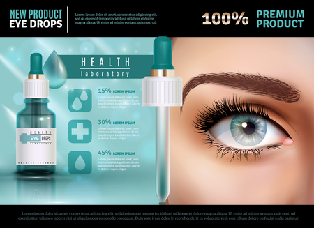 Eye drops in glass vial with pipette realistic poster with product advertising. 3d vector illustration. Çizim