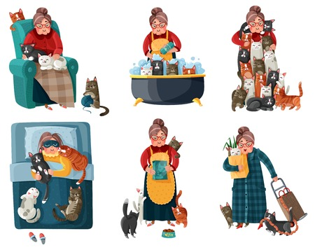 Lonely lady with cats during shopping, feeding, sleeping, relaxation in armchair set of icons. Isolated vector illustration.