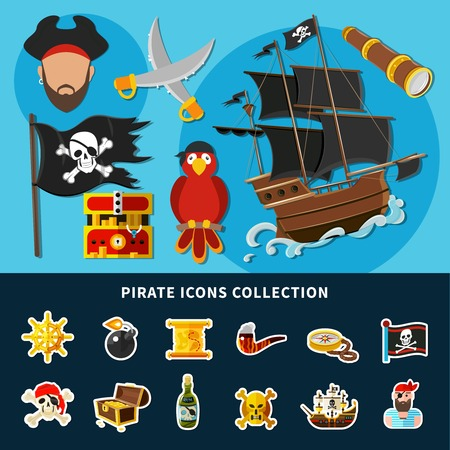 Cartoon collection of pirate icons with jolly roger, sail ship, treasure chest, rum, helm isolated vector illustration