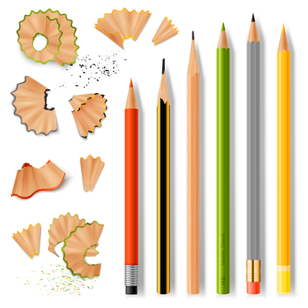 Sharpened wooden pencil with rubber eraser of various size and shavings realistic set isolated on white background vector illustration Ilustração