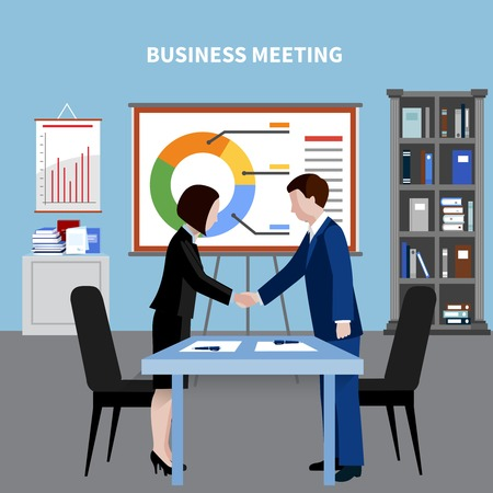 Human resources background with two colleagues shaking hands at business meeting flat vector illustration