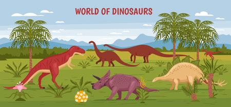 Dino illustration with wild landscape view of prehistorical nature and flora with dinosaur images and text vector illustration