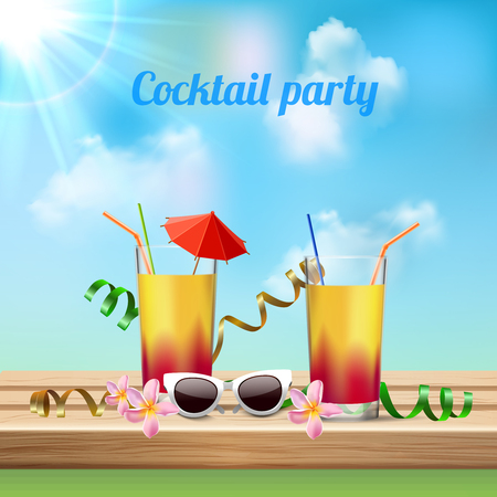 Summer vacation cocktail party celebration realistic composition with 2 glasses orchids flowers sun glasses invitation vector illustration