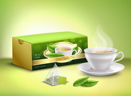 Green tea leaves, sachet and cardboard packaging, white cup with hot drink  realistic design vector illustration