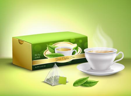 Feuilles de thé vert, sachet et emballage en carton, tasse blanche avec illustration vectorielle de boisson chaude design réaliste
