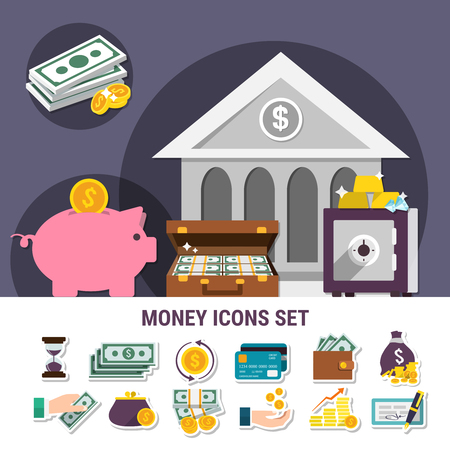 Money flat composition set with isolated icon set combined together in banner vector illustration