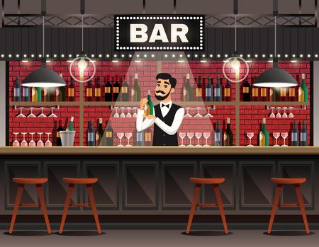 Café bar intérieur composition réaliste avec barman derrière le comptoir servant des boissons contre des étagères à vin fond illustration vectorielle Banque d'images - 96878255
