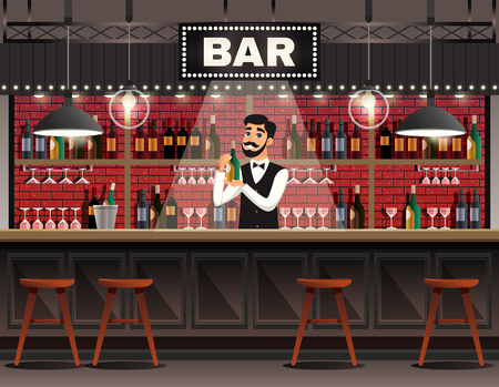 Cafe bar interior realistic composition with barman behind counter serving drinks against wine shelves background vector illustration