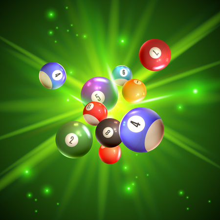 Colorful bingo balls with reflection on sparkling green background with light rays. 3d vector illustration