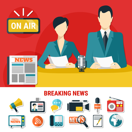 Breaking news design concept with television announcers on air and set of flat isolated icons on press theme vector illustration