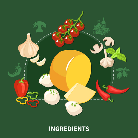 Italian food green background with organic ingredients used in popular national kitchen flat vector illustration