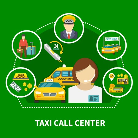 Taxi round composition of circle dial taxi icons and flat images with customer service agent characters, vector illustration. Stock Illustratie