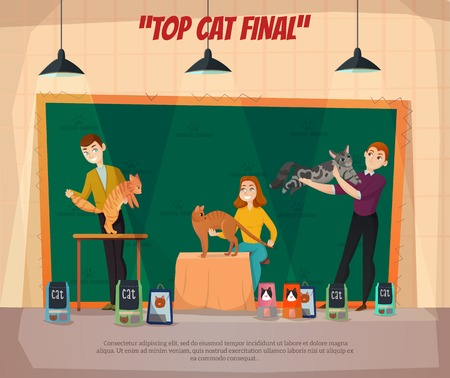 Cat show final retro cartoon poster with 3 top competitors and their happy owners onstage vector illustration Illustration