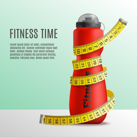 Fitness bottle tape realistic composition with editable text and image of bottle wrapped up in metre stick vector illustration