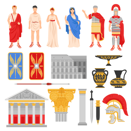 Ancient rome empire set of isolated flat images with pantheons legionnaire outfit weapons and human characters vector illustration Çizim