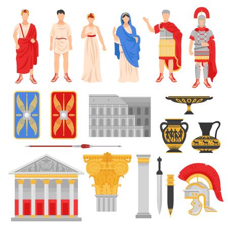 L'insieme antico dell'impero di Roma delle immagini piane isolate con le armi dell'attrezzatura del legionario dei pantheons e l'illustrazione di vettore dei caratteri umani