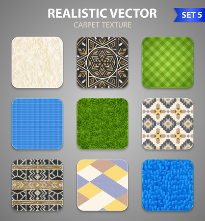 Carpet rugs floor covering texture patterns styles 9 realistic square samples collection on grey background vector illustration Иллюстрация