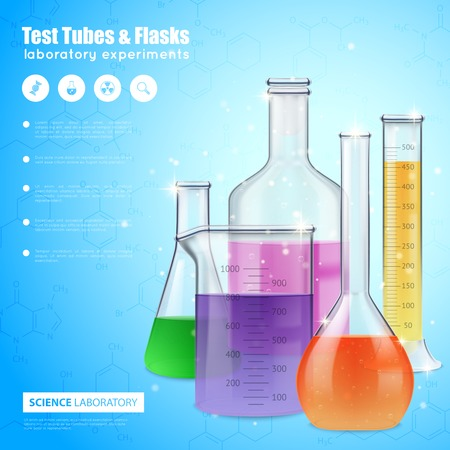 Science laboratory design concept with test tubes and flasks filling with colorful liquid realistic vector illustration