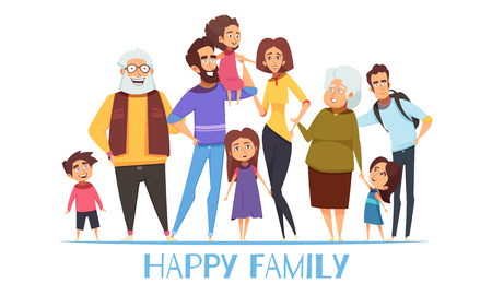 Porträt der glücklichen Familie mit Großeltern, Mutter und Vati, Kinder, Onkel auf weißer Hintergrundvektorillustration Vektorgrafik