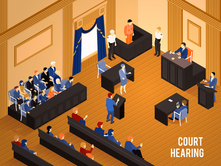 Court hearing with judge jury and witnesses 3d isometric vector illustration
