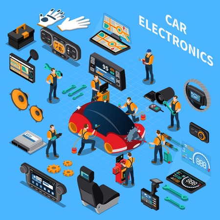 Car electronics and service concept with air conditioning and stereo symbols on blue background isometric vector illustration  Vectores