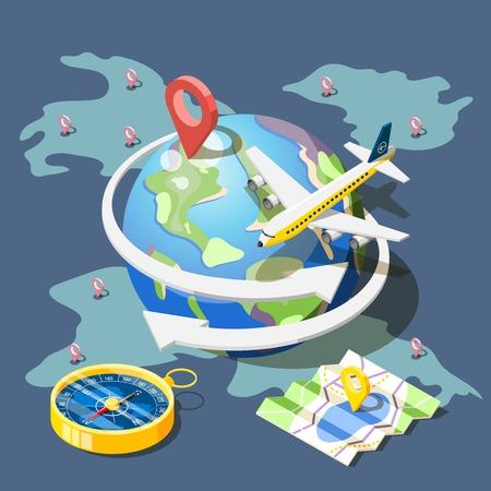 Isometric travel planning concept illustration.