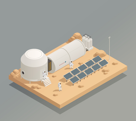 Sun panels energy generator facility on another planet surface and astronauts in spacesuits isometric composition vector illustration Banque d'images - 96952316