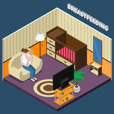 Breastfeeding isometric composition with woman during feeding infant sitting on sofa in home interior vector illustration Vettoriali