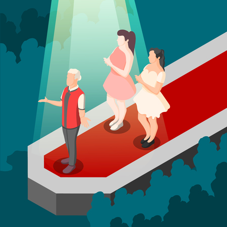 Fashion show isometric composition with designer and models on red walkway in rays of spotlight vector illustration